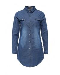 Женская синяя джинсовая рубашка от By Swan