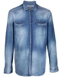 Мужская синяя джинсовая рубашка от Dondup