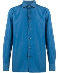 Мужская синяя джинсовая рубашка от Ermenegildo Zegna