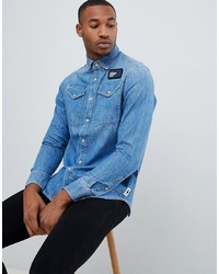 Мужская синяя джинсовая рубашка от G Star