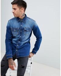 Мужская синяя джинсовая рубашка от Good For Nothing