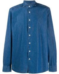 Мужская синяя джинсовая рубашка от Hackett