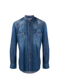 Мужская синяя джинсовая рубашка от Jacob Cohen