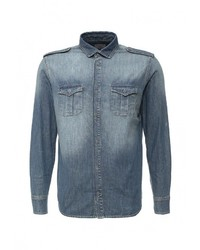 Мужская синяя джинсовая рубашка от Mango Man