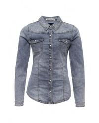 Женская синяя джинсовая рубашка от Miss Bon Bon