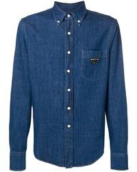 Мужская синяя джинсовая рубашка от Prada