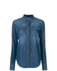 Женская синяя джинсовая рубашка от Saint Laurent