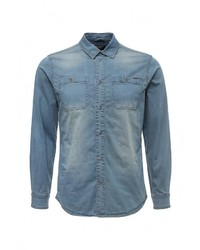 Мужская синяя джинсовая рубашка от Top Secret