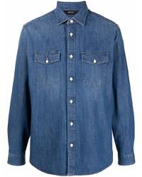 Мужская синяя джинсовая рубашка от Z Zegna