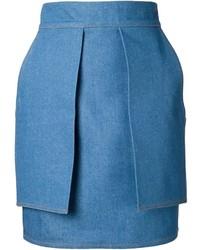 Синяя джинсовая юбка-карандаш