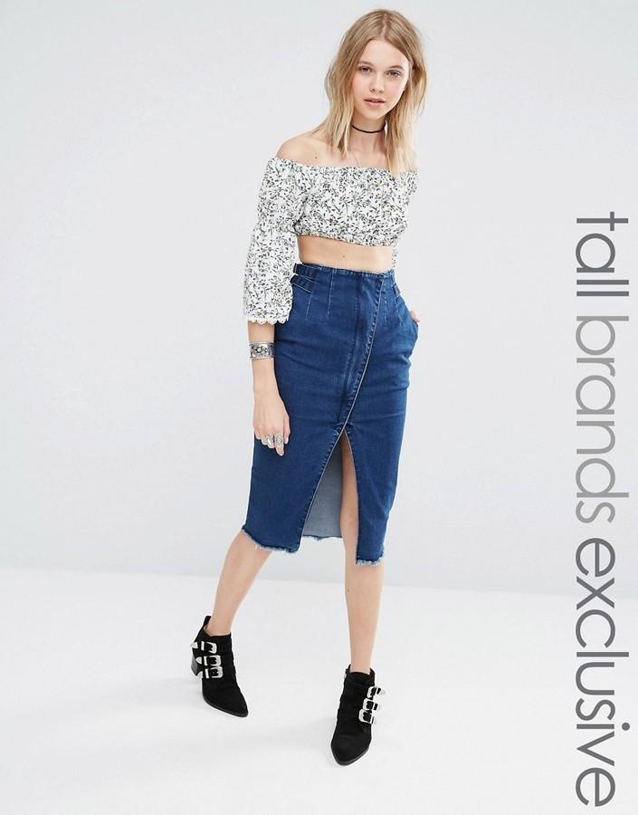 0a2b01ad40d ... Синяя джинсовая юбка-миди ...