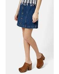 Синяя джинсовая юбка на пуговицах