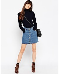 Синяя джинсовая юбка на пуговицах от Asos
