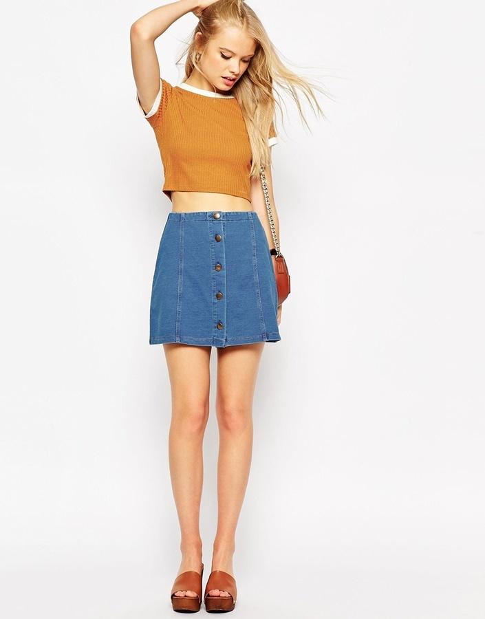 Где купить джинсовую юбку на пуговицах