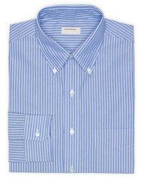 Синяя классическая рубашка в вертикальную полоску