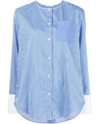 Женская синяя классическая рубашка в вертикальную полоску от Tome