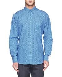 Синяя классическая рубашка в горошек