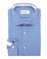 Синяя классическая рубашка в мелкую клетку