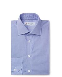 Мужская синяя классическая рубашка в мелкую клетку от Turnbull & Asser