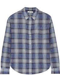 Синяя классическая рубашка в шотландскую клетку