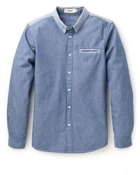 Синяя классическая рубашка из шамбре