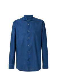 Мужская синяя классическая рубашка от Borriello