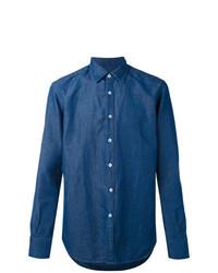Мужская синяя классическая рубашка от Canali