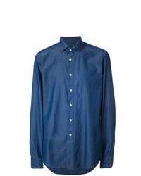 Мужская синяя классическая рубашка от Dell'oglio