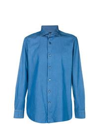 Мужская синяя классическая рубашка от Ermenegildo Zegna
