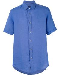 Мужская синяя классическая рубашка от Hugo Boss