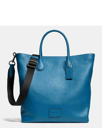 Синяя кожаная большая сумка