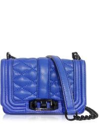 Синяя кожаная стеганая сумка через плечо