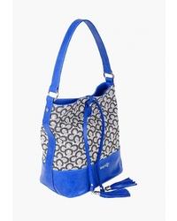 Синяя кожаная сумка-мешок от Dispacci