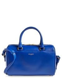 Синяя кожаная сумка-саквояж
