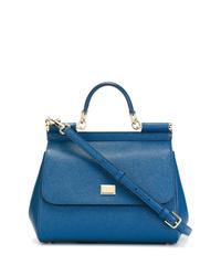Синяя кожаная сумка-саквояж от Dolce & Gabbana