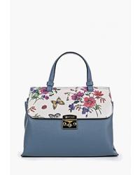Синяя кожаная сумка-саквояж от Krole
