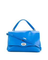 Синяя кожаная сумка-саквояж от Zanellato