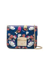 Синяя кожаная сумка через плечо с цветочным принтом