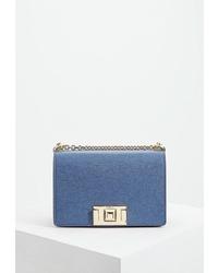 Синяя кожаная сумка через плечо от Furla