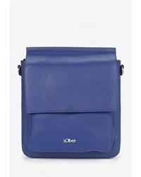 Синяя кожаная сумка через плечо от s.Oliver