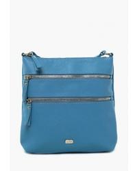 Синяя кожаная сумка через плечо от Solo