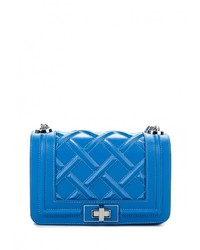 Синяя кожаная сумка через плечо от Tom & Eva
