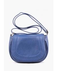 Синяя кожаная сумка через плечо