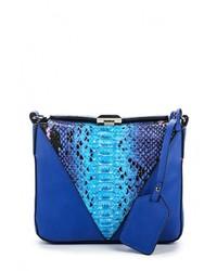 Синяя кожаная сумка через плечо от Vitacci