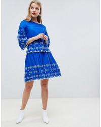 Синяя короткая юбка-солнце с цветочным принтом от Vero Moda