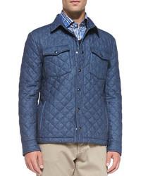 Синяя куртка с воротником и на пуговицах