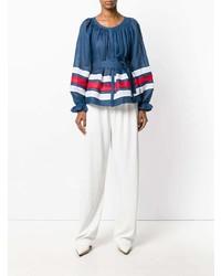 Синяя льняная блузка с длинным рукавом в горизонтальную полоску от Vita Kin
