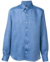 Синяя льняная рубашка с длинным рукавом
