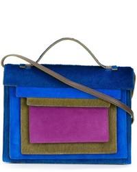 Синяя меховая сумка через плечо