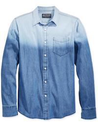 Синяя омбре джинсовая рубашка